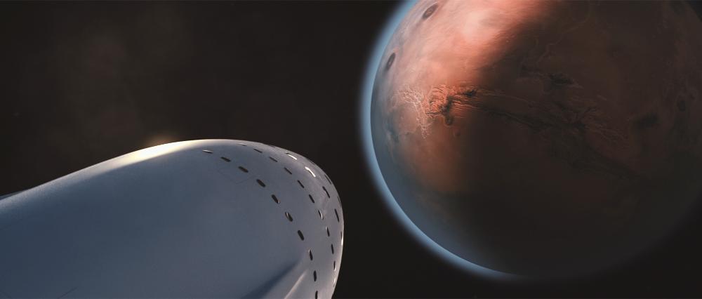 "SpaceX IAC Presentation Slide ""Approaching Mars"""