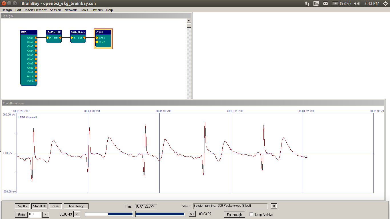 BrainBay on Linux showing 1 Channel of OpenBCI EKG Data
