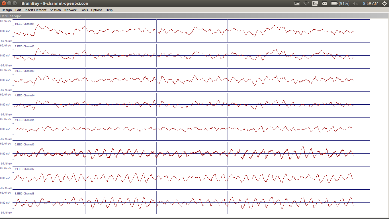 BrainBay on Linux showing 8 Channels of OpenBCI EEG Data