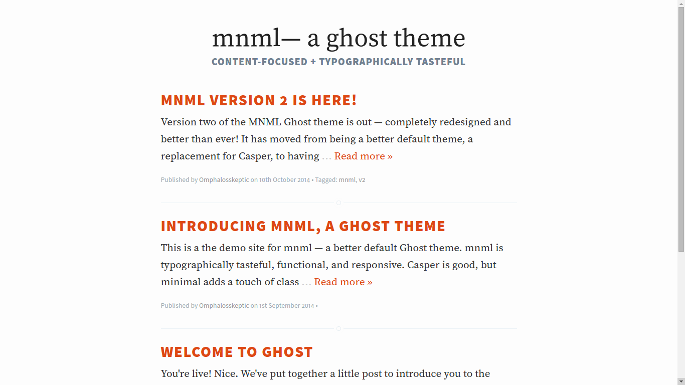 mnml, a ghost blog theme